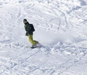 snowboarder rides