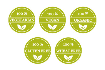 Set of vegetarian and gluten free icons
