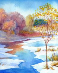 Stream in forest valley winter day. Watercolour landscape