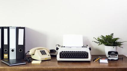 front view of of eighties retro secretary desk