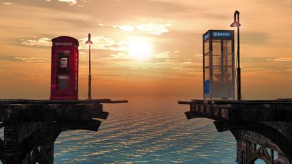 lever de soleil sur le pont téléphonique