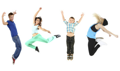 Jumping people isolated on white
