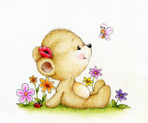 Cute Teddy bear and butterfly