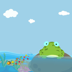 a frog and a water in pond