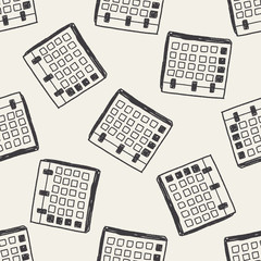Monthly calendar doodle drawing seamless pattern background