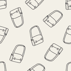 school bag doodle seamless pattern background