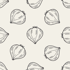 Garlic doodle seamless pattern background