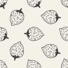 Strawberry doodle seamless pattern background