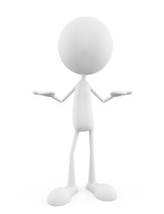 white character with presentation pose
