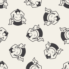 sumo doodle seamless pattern background