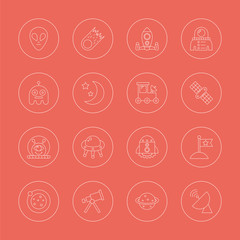 space line icon set