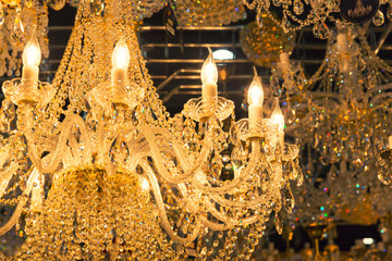 Vintage crystal lamp details