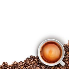 tea cup and coffee beans isolated