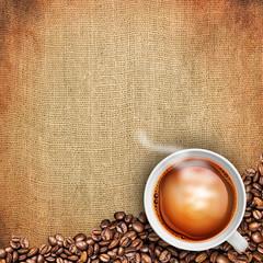 tea cup on burlap background
