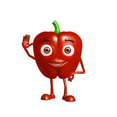 capsicum character with saying hi pose