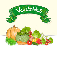 vegetables drawing set group with text banner