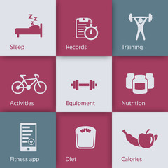 fitness, gym, health flat icons on squares with shadow