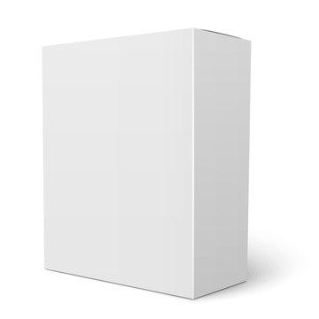 White vertical cardboard box template.