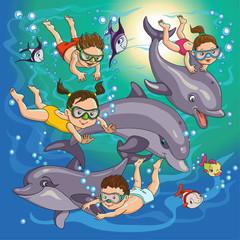 children swim
