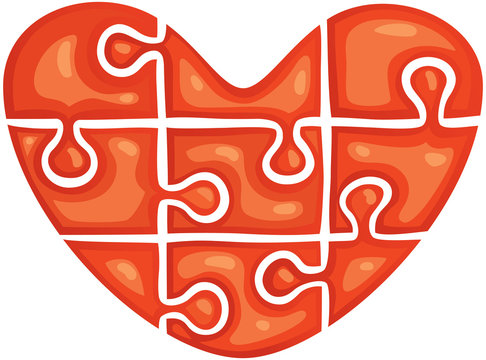 puzzle in the shape of heart