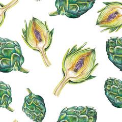 watercolor artichoke pattern