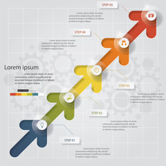 5 Steps of Arrow template/graphic or website layout. Vector.