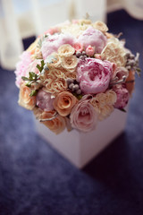Beautiful wedding bouquet with many flowers