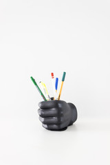 Isolated Black Hand Pen Case