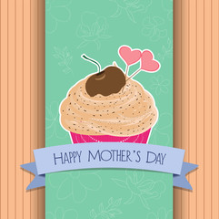 happy mothers day greeting card cupcake sweet love