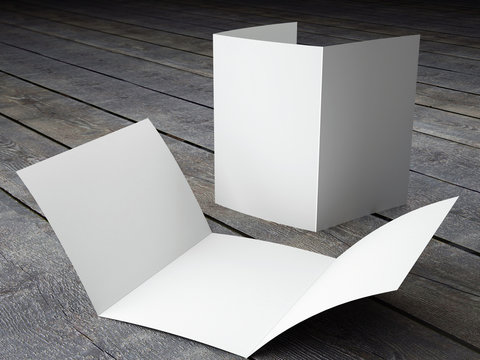 Render of Blank Template of Trifold Brochure A4 Size on Wood Bac