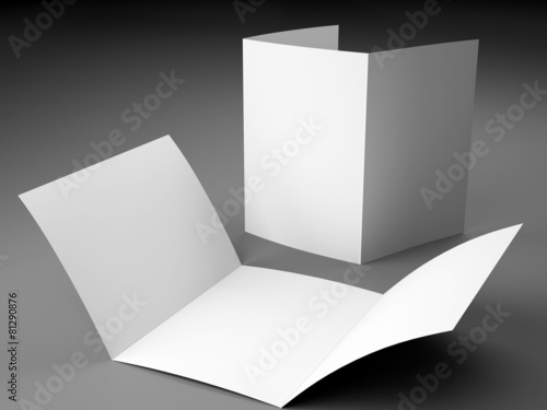 Blank Template Of Trifold Brochure A Size On Gray Background - Brochure blank template