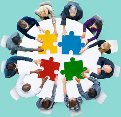Business People Jigsaw Puzzle Collaboration Team Concept