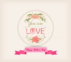 happy mother day with florals and label