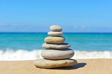 Pyramid of stones, beach