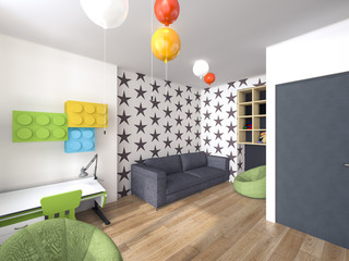 a child's room design with balloons 3d rendering