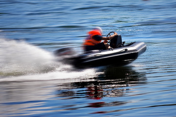 Garden Poster Water Motor sports Rushing boat during the race