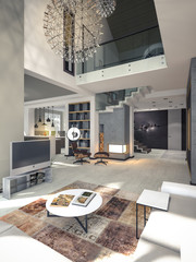 3D visualization of a living room with a high ceiling