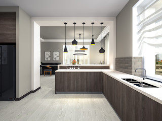 kitchen with lamps 3d rendering