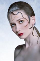charming girl with creative hairdo