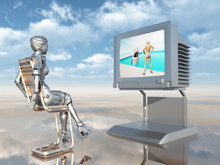 Roboter mit Fernsehgerät