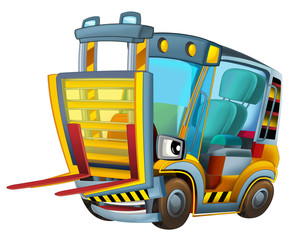 Cartoon car - forklift - caricature - illustration