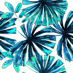 palm leaves watercolor pattern
