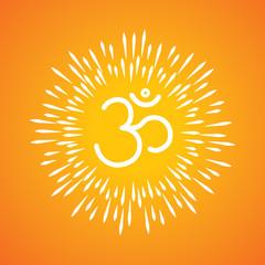 om symbol vector icon & sunburst like rays emerging from the aum