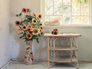 old white interior with sunflower