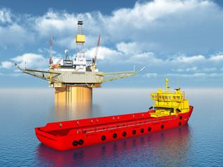 Platform Supply Vessel and Oil Platform