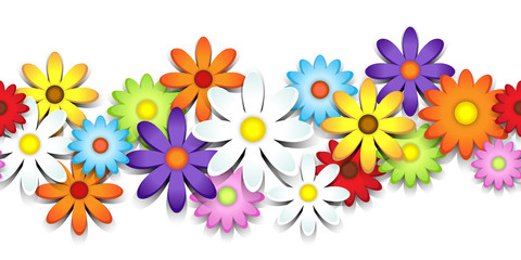 3D colorful daisy border