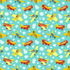 Seamless pattern with toy airplanes