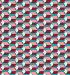 Red cubes seamless pattern