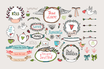 Romantic ornate frames, banners and ribbons