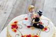 Weincreme Torte, Hochzeitstorte, Tortenständer, Holz